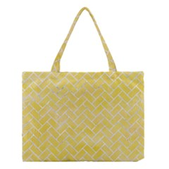 Brick2 White Marble & Yellow Watercolor Medium Tote Bag by trendistuff