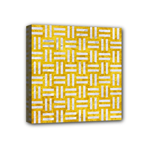 Woven1 White Marble & Yellow Marble Mini Canvas 4  X 4  by trendistuff