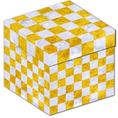 Square1 White Marble & Yellow Marble Storage Stool 12   by trendistuff