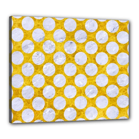 Circles2 White Marble & Yellow Marble Canvas 24  X 20  by trendistuff