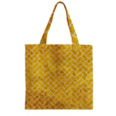 Brick2 White Marble & Yellow Marble Zipper Grocery Tote Bag by trendistuff