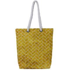 Brick2 White Marble & Yellow Marble Full Print Rope Handle Tote (small) by trendistuff