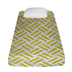 Woven2 White Marble & Yellow Leather (r) Fitted Sheet (single Size) by trendistuff