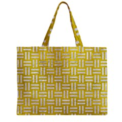 Woven1 White Marble & Yellow Leather Zipper Mini Tote Bag by trendistuff