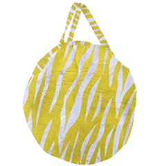 Skin3 White Marble & Yellow Leather Giant Round Zipper Tote by trendistuff