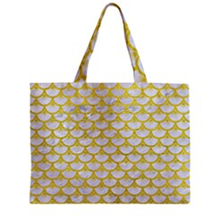 Scales3 White Marble & Yellow Leather (r) Zipper Mini Tote Bag by trendistuff