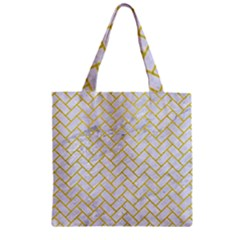 Brick2 White Marble & Yellow Leather (r) Zipper Grocery Tote Bag by trendistuff