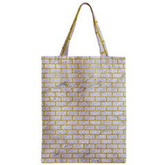 Brick1 White Marble & Yellow Leather (r) Zipper Classic Tote Bag by trendistuff