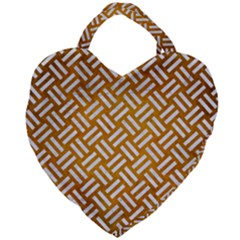 Woven2 White Marble & Yellow Grunge Giant Heart Shaped Tote by trendistuff