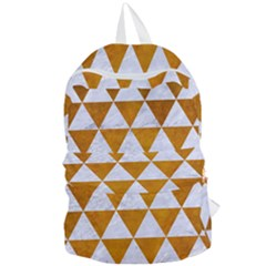 Triangle3 White Marble & Yellow Grunge Foldable Lightweight Backpack by trendistuff