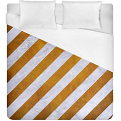 Stripes3 White Marble & Yellow Grunge (r) Duvet Cover (king Size) by trendistuff