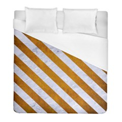 Stripes3 White Marble & Yellow Grunge Duvet Cover (full/ Double Size) by trendistuff