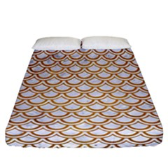 Scales2 White Marble & Yellow Grunge (r) Fitted Sheet (california King Size) by trendistuff