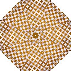 Houndstooth2 White Marble & Yellow Grunge Hook Handle Umbrellas (large) by trendistuff