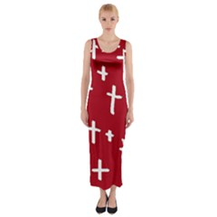 Red White Cross Fitted Maxi Dress by snowwhitegirl