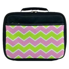 Zigzag Chevron Pattern Green Pink Lunch Bag by snowwhitegirl