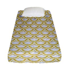 Scales2 White Marble & Yellow Denim (r) Fitted Sheet (single Size) by trendistuff