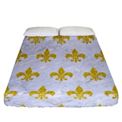Royal1 White Marble & Yellow Denim Fitted Sheet (queen Size) by trendistuff