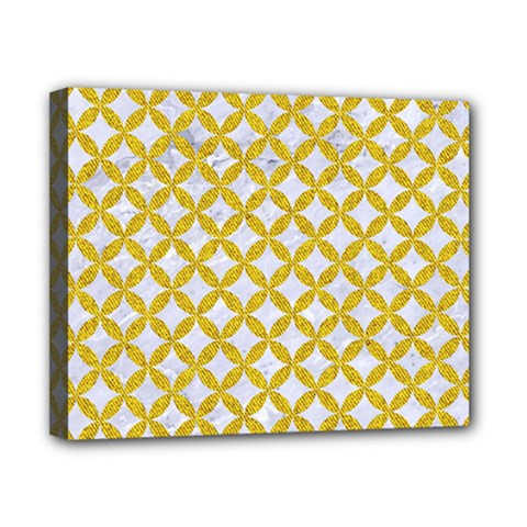 Circles3 White Marble & Yellow Denim (r) Canvas 10  X 8  by trendistuff