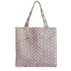 Brick2 White Marble & Yellow Denim (r) Zipper Grocery Tote Bag by trendistuff