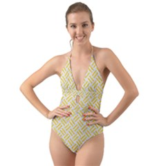Woven2 White Marble & Yellow Colored Pencil (r) Halter Cut Out One Piece Swimsuit