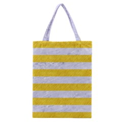 Stripes2white Marble & Yellow Colored Pencil Classic Tote Bag by trendistuff
