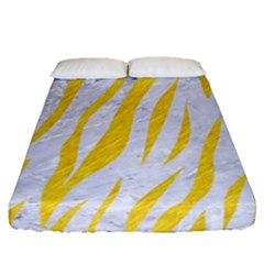 Skin3 White Marble & Yellow Colored Pencil (r) Fitted Sheet (queen Size) by trendistuff