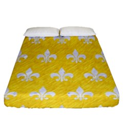 Royal1 White Marble & Yellow Colored Pencil (r) Fitted Sheet (queen Size) by trendistuff