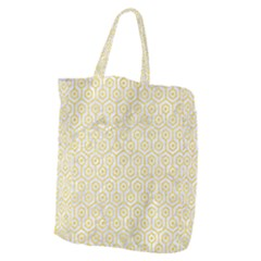 Hexagon1 White Marble & Yellow Colored Pencil (r) Giant Grocery Zipper Tote by trendistuff