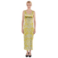 Damask2 White Marble & Yellow Colored Pencil Fitted Maxi Dress by trendistuff