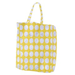 Circles1 White Marble & Yellow Colored Pencil Giant Grocery Zipper Tote by trendistuff