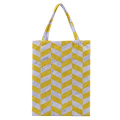 Chevron1 White Marble & Yellow Colored Pencil Classic Tote Bag by trendistuff