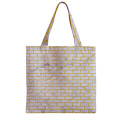 Brick1 White Marble & Yellow Colored Pencil (r) Zipper Grocery Tote Bag by trendistuff