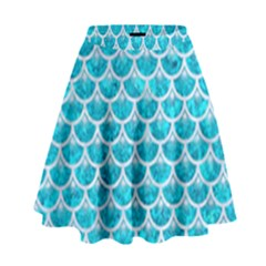 Scales3 White Marble & Turquoise Marble High Waist Skirt by trendistuff