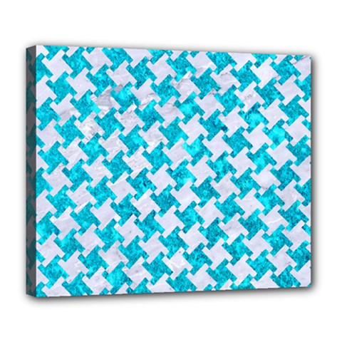 Houndstooth2 White Marble & Turquoise Marble Deluxe Canvas 24  X 20   by trendistuff