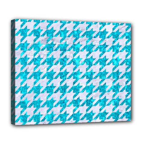 Houndstooth1 White Marble & Turquoise Marble Deluxe Canvas 24  X 20   by trendistuff