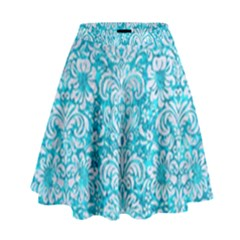 Damask2 White Marble & Turquoise Marble High Waist Skirt by trendistuff