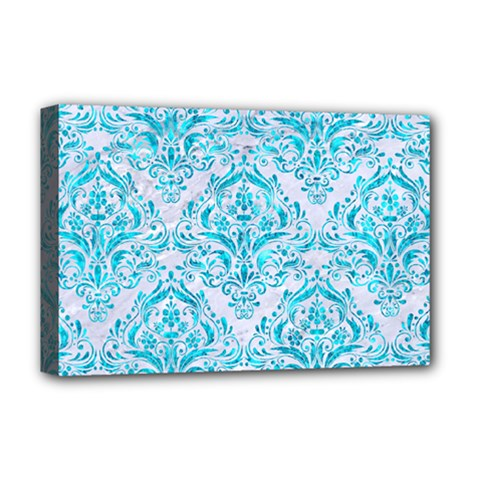Damask1 White Marble & Turquoise Marble (r) Deluxe Canvas 18  X 12   by trendistuff