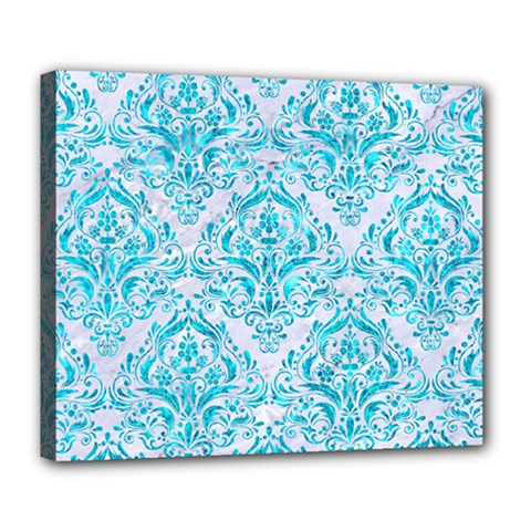 Damask1 White Marble & Turquoise Marble (r) Deluxe Canvas 24  X 20   by trendistuff