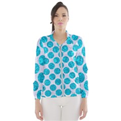 Circles2 White Marble & Turquoise Marble (r) Wind Breaker (women)
