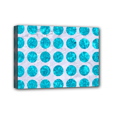Circles1 White Marble & Turquoise Marble (r) Mini Canvas 7  X 5  by trendistuff