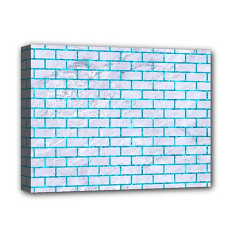 Brick1 White Marble & Turquoise Marble (r) Deluxe Canvas 16  X 12   by trendistuff