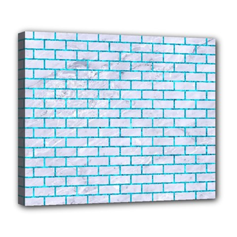 Brick1 White Marble & Turquoise Marble (r) Deluxe Canvas 24  X 20   by trendistuff