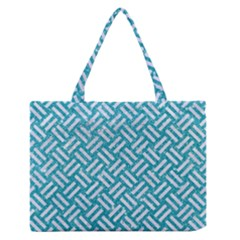 Woven2 White Marble & Turquoise Glitter Zipper Medium Tote Bag by trendistuff
