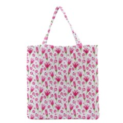 Watercolor Spring Flowers Pattern Grocery Tote Bag by TastefulDesigns