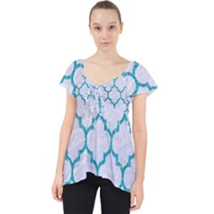 Tile1 White Marble & Turquoise Glitter (r) Lace Front Dolly Top