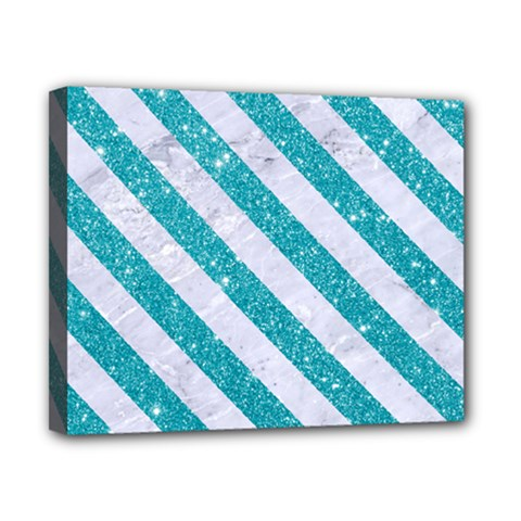 Stripes3 White Marble & Turquoise Glitter Canvas 10  X 8  by trendistuff