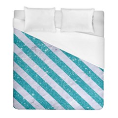 Stripes3 White Marble & Turquoise Glitter Duvet Cover (full/ Double Size) by trendistuff