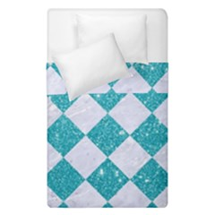 Square2 White Marble & Turquoise Glitter Duvet Cover Double Side (single Size) by trendistuff