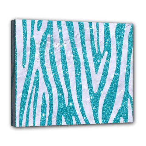 Skin4 White Marble & Turquoise Glitter (r) Deluxe Canvas 24  X 20   by trendistuff